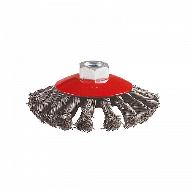 BEVEL BRUSH / TWISTED STEEL KNOT WIRE / M14 100x0.5